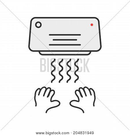 simple thin line hand dryer emblem. concept of monochrome badge, latrine, closet, interior element, airflow. flat style trend modern logotype graphic design vector illustration on white background poster