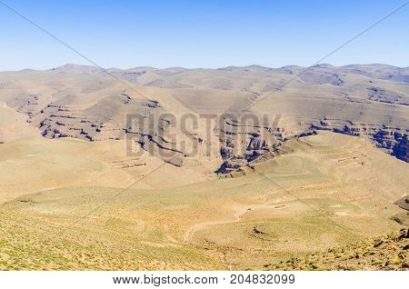 Beautiful remote landscape in Middle Atlas mountain region or Morocco, North Africa.