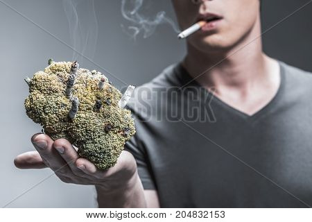 Look at the result of smoking. Close up of young man showing ugly broccoli with burning cigarettes inside as if it is lung. Focus on butts in vegetable
