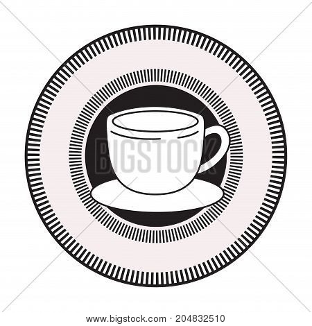 decorative circular emblem of cup of coffee with handle on dish black silhouette vector illustration