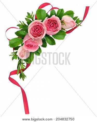 Pink rose flowers arrangement and ribbon bow isolated on white. Flat lay. Top view.