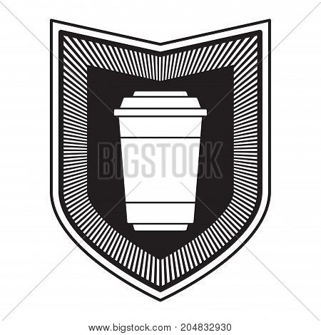 decorative logo shield of glass disposable for hot drinks with lid black silhouette vector illustration