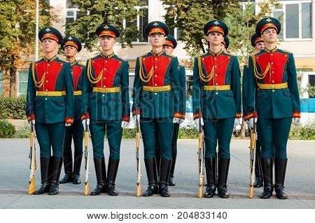 MOSCOW RUSSIA - SEPTEMBER 02 2017: Day of the Russian Guard. The Honor Guard of the 154 Preobrazhensky Regiment in the infantry uniform. Preobrazhenskaya Square Moscow.