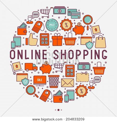 E-commerce, shopping concept in circle with thin line icons: shopping cart, payment method, delivery, sale. Vector illustration for background of banner, web page, print media.