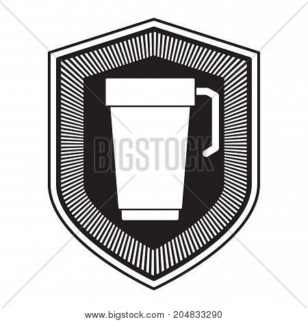 logo badge decorative of glass disposable for hot drinks with handle black silhouette vector illustration