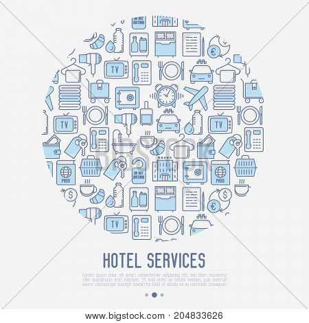 Hotel services concept in circle with thin line icons of facilities in room. Vector illustration for banner, web page, print media.