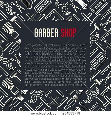 Barber shop concept with thin line icons of shaving accessories and place for text inside. Vector illustration for web page, banner, print media.