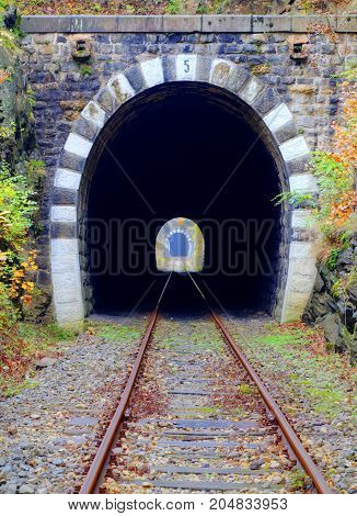 Railroad tunnel in the mountain close up