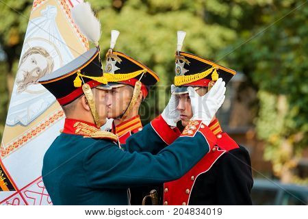MOSCOW RUSSIA - SEPTEMBER 02 2017: Day of the Russian Guard. The Honor Guard of the 154 Preobrazhensky Regiment in the historical form of the Life Guards. Preobrazhenskaya Square Moscow.