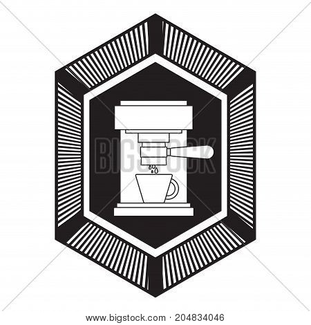 logo badge decorative of coffee espresso machine front view black silhouette vector illustration