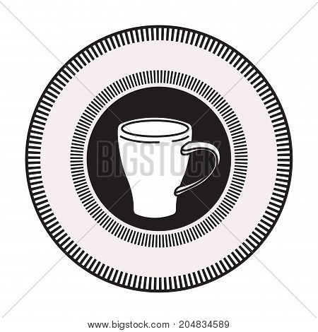 logo badge circular decorative of mug of coffee with handle black silhouette vector illustration