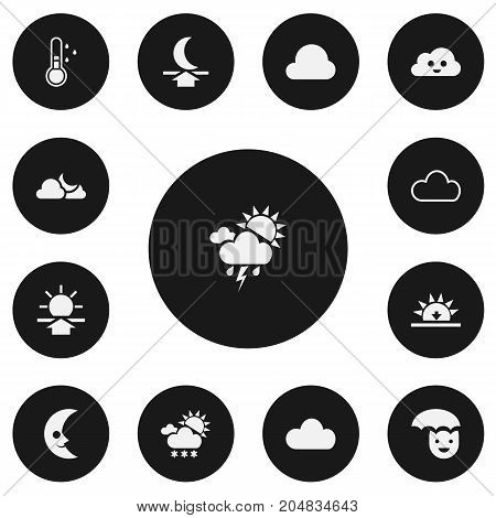 Set Of 13 Editable Weather Icons. Includes Symbols Such As Happy Man, Moon Up, Sunup And More