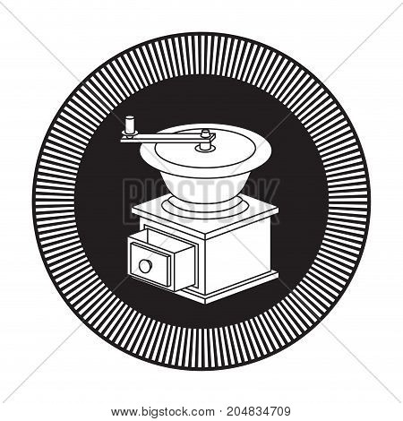 logo shield circular decorative of coffee grinding with cranks black silhouette vector illustration