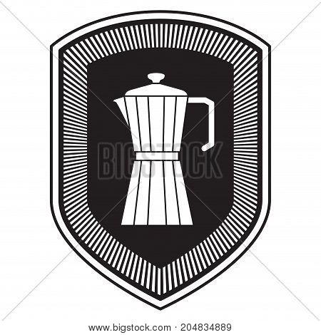 logo shield decorative of metallic jar of coffee with handle black silhouette vector illustration