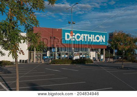 13 of September 2017 Editorial photo of Decathlon supermarket Ostrava Czech Republic CZ