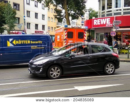 DUSSELDORF GERMANY - AUGUST 17 2017: Hard traffic at Nord street at northen part of the city.