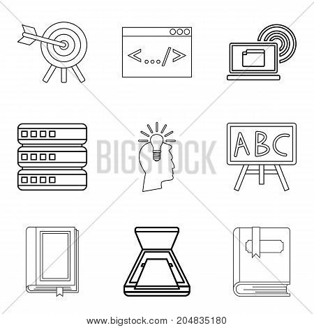 Magazine icons set. Outline set of 9 magazine vector icons for web isolated on white background