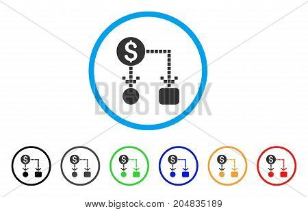 Cashflow rounded icon. Style is a flat cashflow gray symbol inside light blue circle with black, gray, green, blue, red, orange color versions. Vector designed for web and software interfaces.