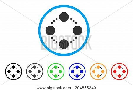 Circular Relations rounded icon. Style is a flat circular relations grey symbol inside light blue circle with black, gray, green, blue, red, orange versions.