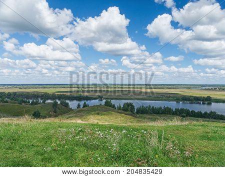 Meadows along the Oka River ( Volga tributary ). Central Russia Ryazan region