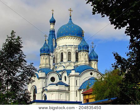Russia, the suburbs of St. Petersburg, the city of Gatchina, September 16, year 2017, in the photo The Cathedral of the Intercession of the Blessed  Mary in the autumn.