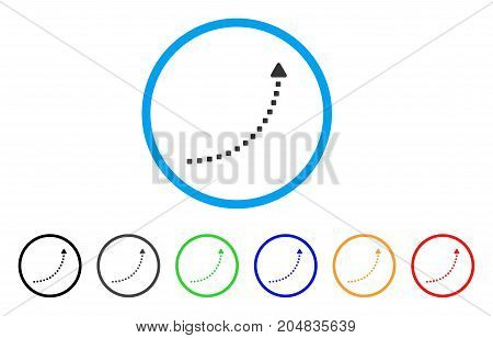 Dotted Growth Line rounded icon. Style is a flat dotted growth line gray symbol inside light blue circle with black, gray, green, blue, red, orange variants.
