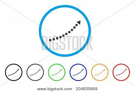 Dotted Growth Trend rounded icon. Style is a flat dotted growth trend gray symbol inside light blue circle with black, gray, green, blue, red, orange color versions.