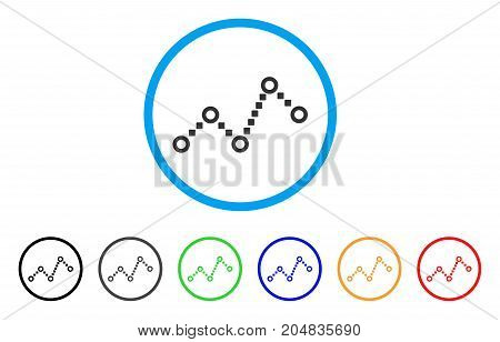 Dotted Line rounded icon. Style is a flat dotted line grey symbol inside light blue circle with black, gray, green, blue, red, orange color versions. Vector designed for web and software interfaces.
