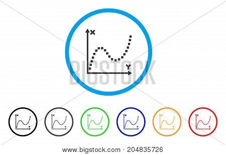 Dotted Plot rounded icon. Style is a flat dotted plot gray symbol inside light blue circle with black, gray, green, blue, red, orange variants. Vector designed for web and software interfaces.