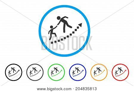 Education Growth rounded icon. Style is a flat education growth gray symbol inside light blue circle with black, gray, green, blue, red, orange color versions.
