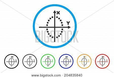 Ellipse Plot rounded icon. Style is a flat ellipse plot gray symbol inside light blue circle with black, gray, green, blue, red, orange versions. Vector designed for web and software interfaces.