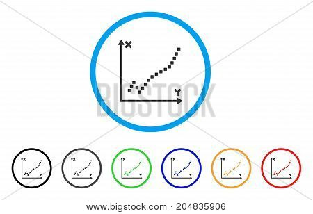 Function Plot rounded icon. Style is a flat function plot grey symbol inside light blue circle with black, gray, green, blue, red, orange variants. Vector designed for web and software interfaces.