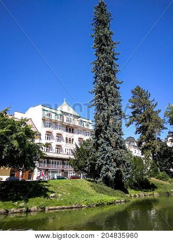 Resort park in Marianske Lazne (Marienbad) Czech Republic near colonnade with mineral water sources