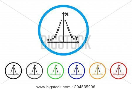 Gauss Plot rounded icon. Style is a flat gauss plot grey symbol inside light blue circle with black, gray, green, blue, red, orange color versions. Vector designed for web and software interfaces.