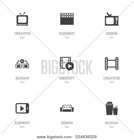 Set Of 9 Editable Cinema Icons. Includes Symbols Such As Tv, Record, Film Glasses And More