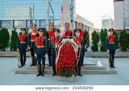 MOSCOW RUSSIA - SEPTEMBER 02 2017: Day of the Russian Guard. The Honor Guard of the 154 Preobrazhensky Regiment. Solemn wreath laying ceremony. Preobrazhenskaya Square Moscow.