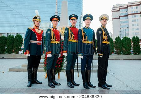 MOSCOW RUSSIA - SEPTEMBER 02 2017: Day of the Russian Guard. The Honor Guard of the 154 Preobrazhensky Regiment in the uniform of different kinds of troops. Preobrazhenskaya Square Moscow.