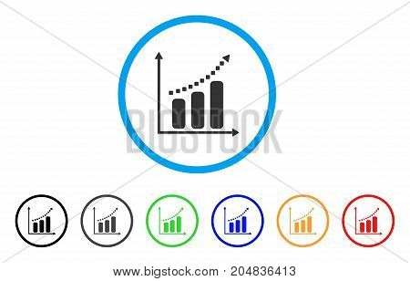 Positive Trend rounded icon. Style is a flat positive trend grey symbol inside light blue circle with black, gray, green, blue, red, orange variants. Vector designed for web and software interfaces.