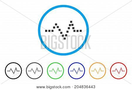 Pulse Chart rounded icon. Style is a flat pulse chart grey symbol inside light blue circle with black, gray, green, blue, red, orange color versions. Vector designed for web and software interfaces.