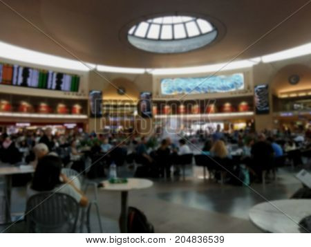 Blured view of main waiting departure hall of international airport.