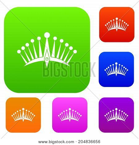 Big crown set icon color in flat style isolated on white. Collection sings vector illustration