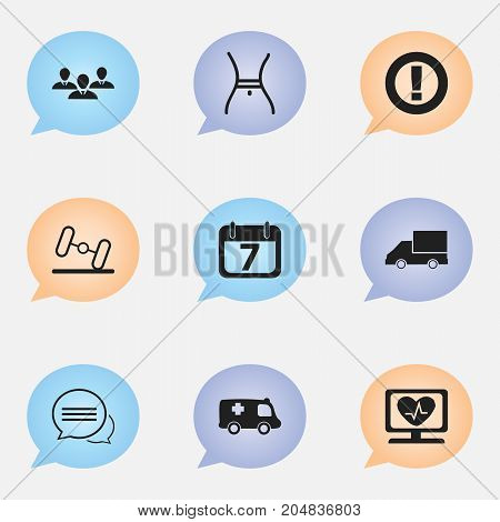 Set Of 9 Editable Complex Icons. Includes Symbols Such As Caution, Date Block, Group And More