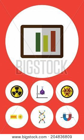 Flat Icon Knowledge Set Of Flask, Attractive Force, Irradiation And Other Vector Objects