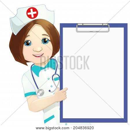 Woman Doctor pointing her finger up Isolated, on a white background