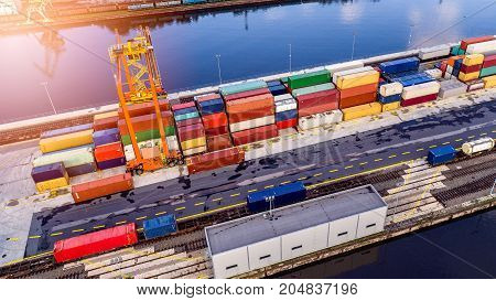 Aerial View On Containers In Cargo Terminal
