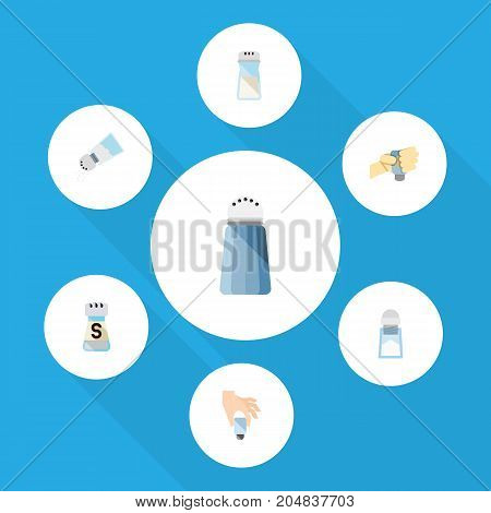 Flat Icon Salt Set Of Condiment, Flavor, Sodium And Other Vector Objects