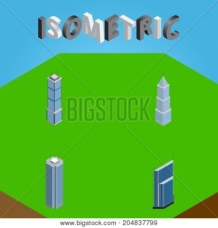 Isometric Building Set Of Residential, Skyscraper, Apartment And Other Vector Objects