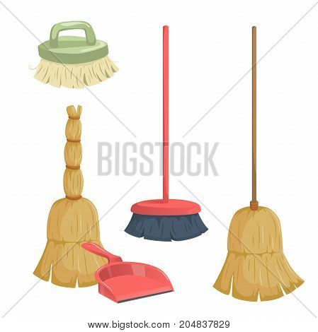 Cartoon trendy cleaning service icons set. Vintage natural and modern plastic brooms dust pan and clean brush.