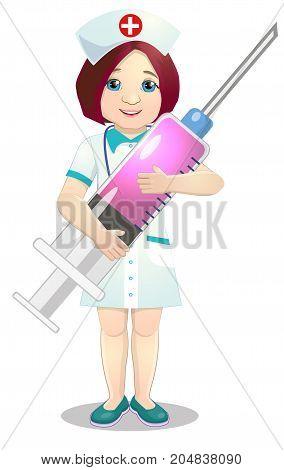 Cheerful nurse with injection syringe. illustration. on a white background