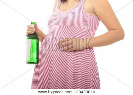 A pregnant woman with alcohol and cigarette